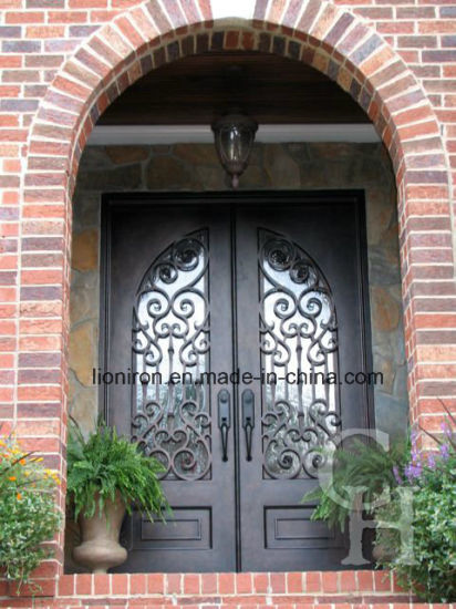 China High Quality European Style Wrought Iron Double Entry Doors