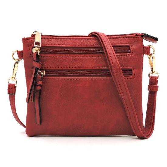 Wholesale PU Leather Lady Fashion Multi Zipper Clutch Crossbody Handbag