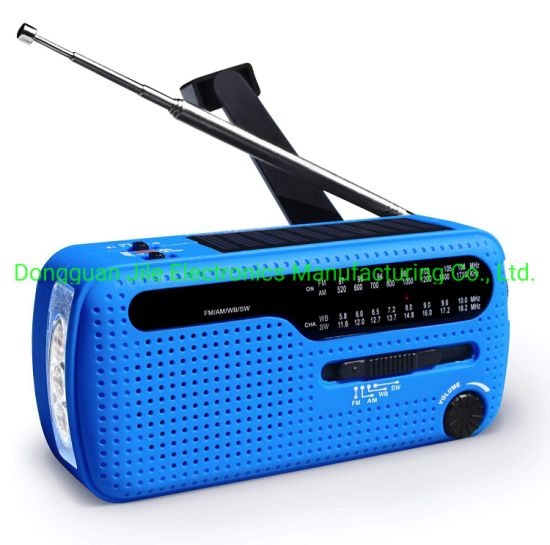 Very Useful Emergency Preparedness Solar Powered Dynamo Hand Crank Portable FM Am Sw Noaa Mini Wind up World Receiver Radio with 3PCS Super LED Flashlight Alarm