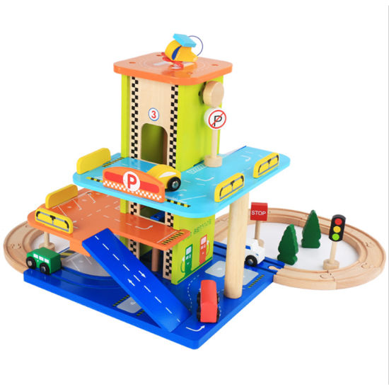 Children′s Simulated Wooden Three-Storey Stereo Track Parking Lot Set pictures & photos
