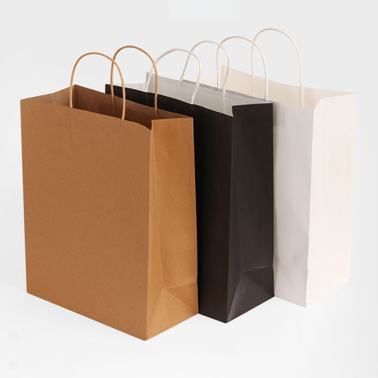 Low MOQ Solid Color Machine Made Kraft Paper Bags