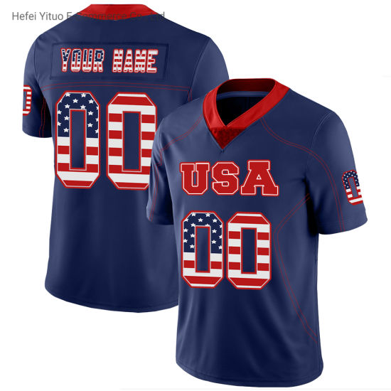 Wholesale 2019 Embroidery Top Quality Football Jerseys Sportswear on Blue Ground