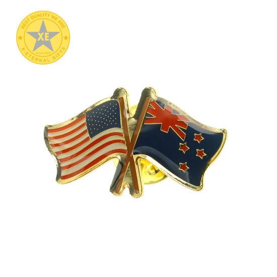 Customized Soft Enamel Double Flag Pin Badge