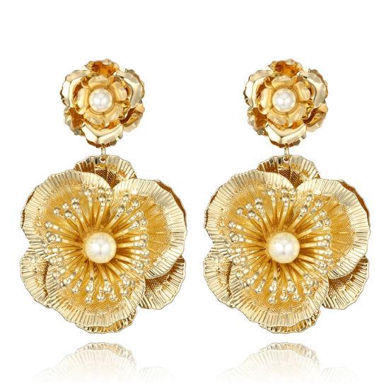 2018 Gold Double Flower Design Earrings For S Gift