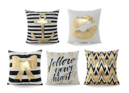 Gold Foil Printing SquarePillow Case Sofa Waist Throw Cushion Cover Home Decor
