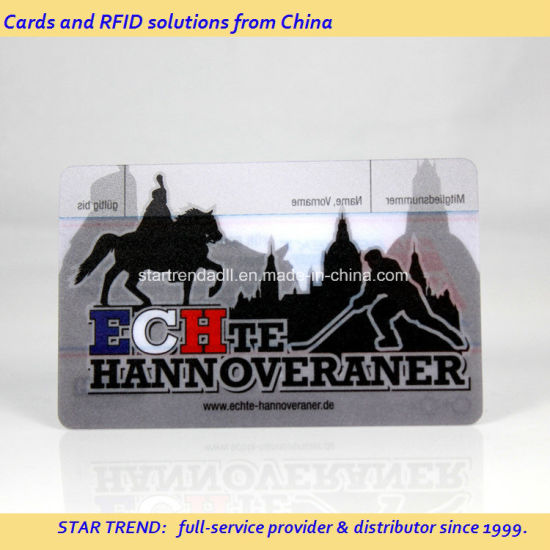 Colorful Gift Card Made of Clear PVC with Hot Stamping Foil pictures & photos