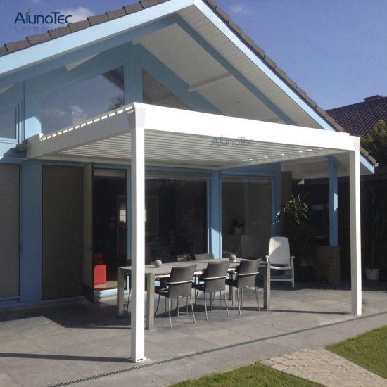 Modern Design Motorized Waterproof Garden Balcony Louvered Roof Covering Pergola Gazebo with Curton