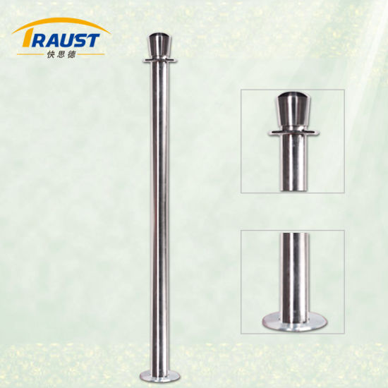Floor Standing Solid Rail Portable Barriers, Fixed Rope Poles for Commercial