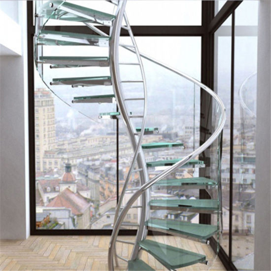 Superieur Clear Float Glass Spiral Staircase With Stainless Steel Center Beam