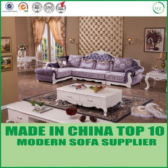 China Graved Modern Furshing Furniture Chesterfield Corner Fabric
