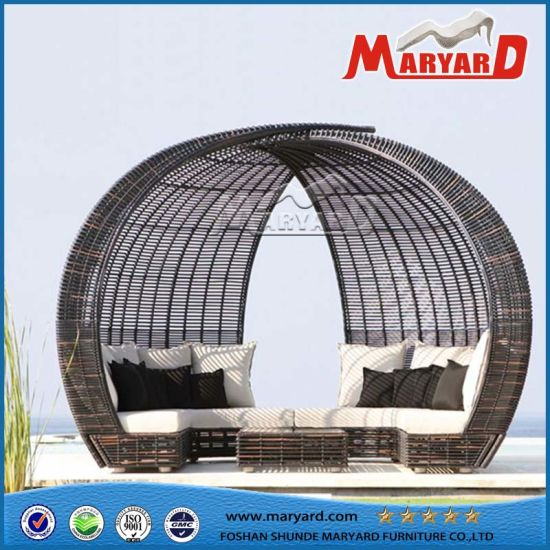 Hot Sale Modern Design Outdoor Rattan Daybed with Canopy