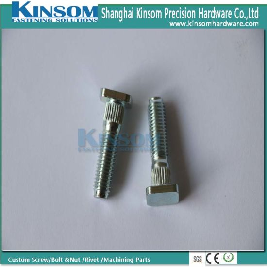Custom Square Knurling Head Machine Thread Bolt with Blue Zinc Coating pictures & photos