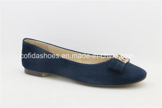 11ea16878 New Arrival Trendy Comfort Flat Leather Lady Shoes pictures & photos