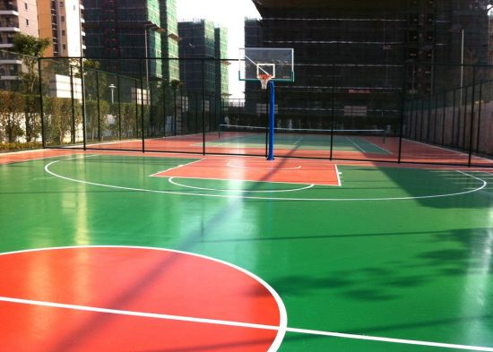 Spu Outdoor Basketball Court with Soft and Resilient Surfaces and Noise Reduction