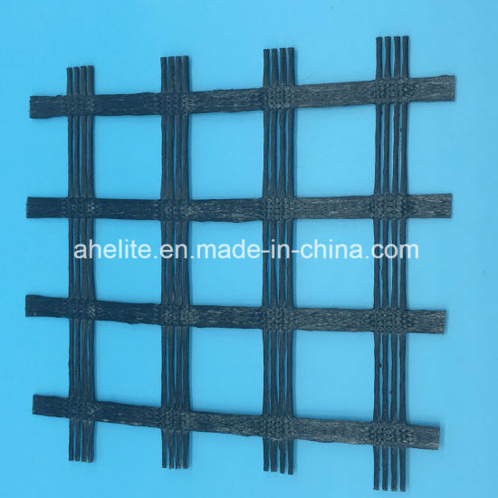 PVC Coated Warp Knitted Polyester Pet Geogrids Biaxial / Uniaxial