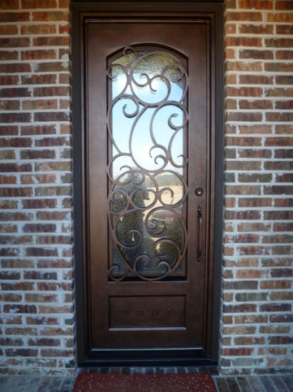 Front Exterior Iron Single Door With Glue Chip Glass
