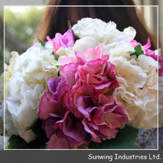 Decorative Purple Hydrangea Fabric Cheap Wholesale Artificial Flowers pictures & photos