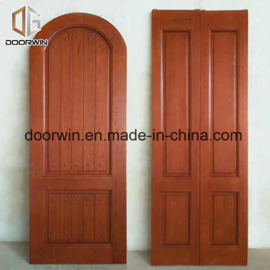 Red Oak Wood Arched Top Front Entrance Door With Copper Nail