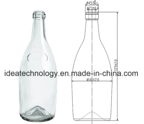 Top Grade 2500ml High Transparency Glass Champagne Bottle