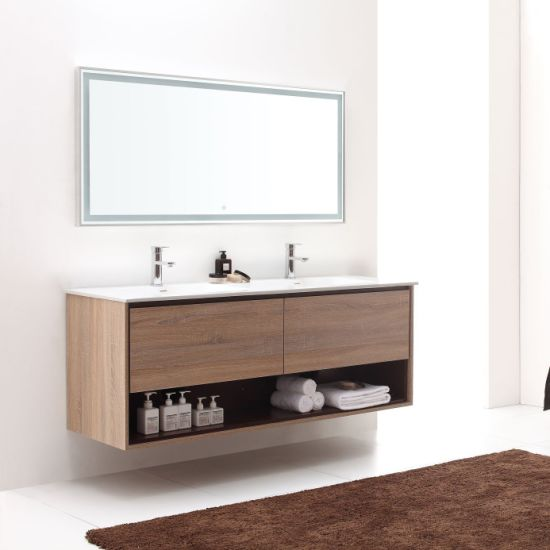 "China Manufacturer Sale Modern Double Sink Stylish Design 63"" Khaki Wood Finish Bathroom Cabinet"