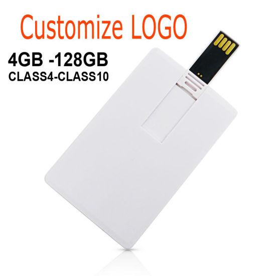 White Credit Card Plastic USB Flash Drive Custom Logo Pen Drive Pendrive 2GB 4GB 8GB