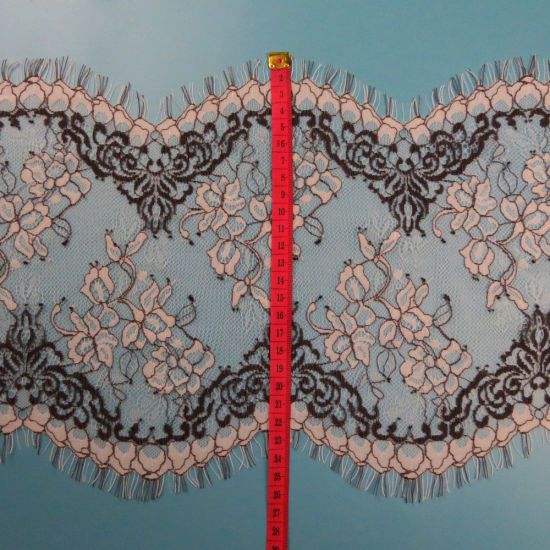 26cm Double Side Scallop Cord Flower Design Eyelash Lace Trim for Garment Clothing