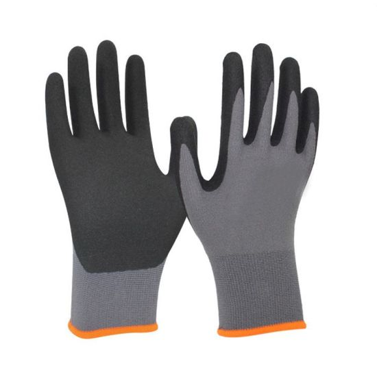 Good Price Polyester Knitted Liner Latex Foam Coated Work Safety Gloves with Customized Color