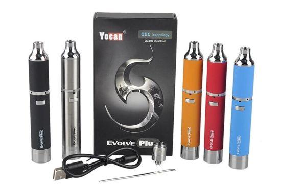 1100mAh Wax Pen Vaporizer Starter Kit Dual Quartz Coils Wax Concentrates DAB Pen E Cigarette Yocan Evolve Plus
