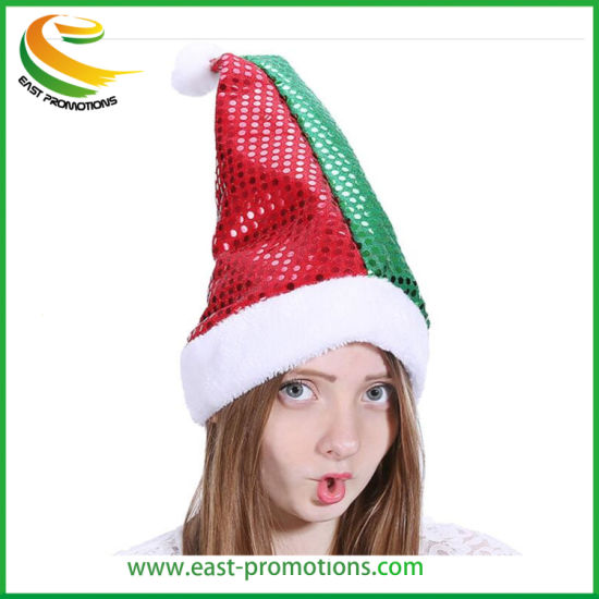 Custom Promotion Santa Hat Christmas Hat with Paillette for Party pictures & photos