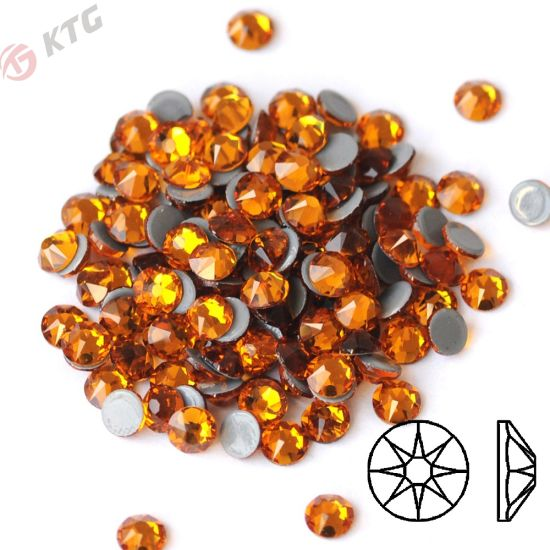 Kingswick Topaz Hotfix Rhinestone 8 Big 8 Small Facets Glass Hotfix Stone 2mm Iron on Strass for Garment Accessories