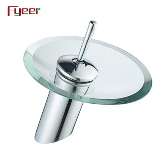 Fyeer Single Lever Round Glass Bathroom Waterfall Faucet