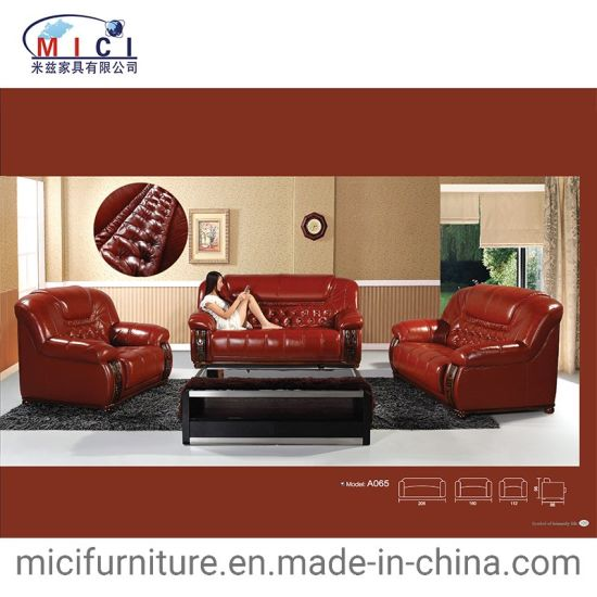 Wood And Leather Sofa Set