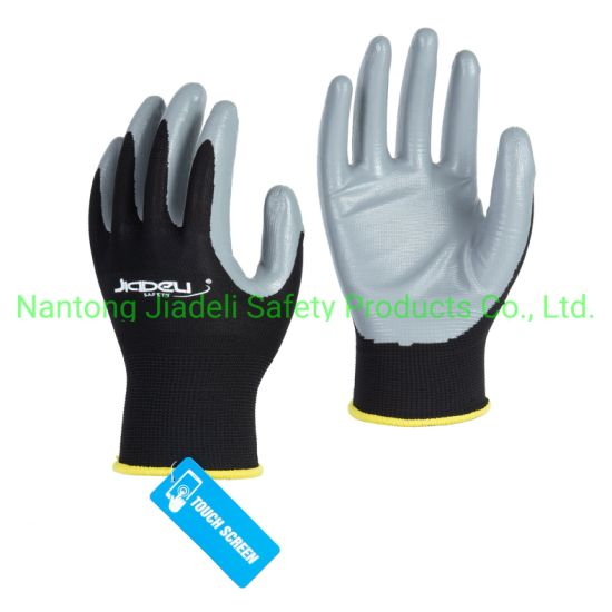 Daily Protect 13 Gauge Black Nylon Screen Touch Work Glove with Nitrile Coating