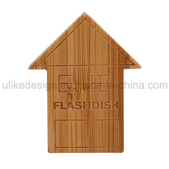 Wooden USB 2.0 Promotion USB Pen Drive Wood Building Memory House USB Flash Drive/USB Stick