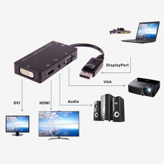 3 in 1 Dp to HDMI VGA DVI Converter Cable Transit Dp to HDMI VGA DVI Plug Adapter Displayport to VGA/Aduio/HDMI/DVI Tieline