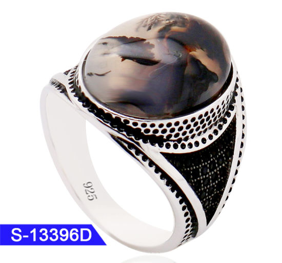 Wholesale New Model Turkish & Arabic Style 925 Sterling Silver Fashion Jewelry Islamic Stone Ring for Men