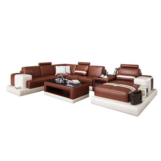 New Modern U Shape Corner Sofa Italian Leather Red Sofa