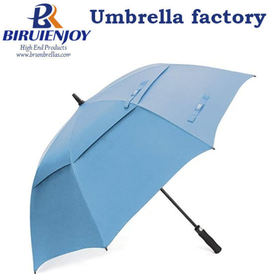 Automatic Double Canopy Outdoor Vented Straight Golf Umbrella Blue 30""