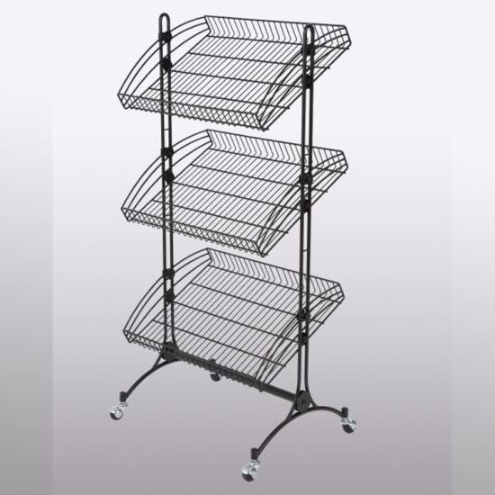Metal Wire Basket Wheeled Moveable Display Shelf with Three Basket