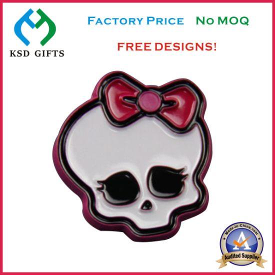 China Skull Black Nickel Plating Enamel Metal Lapel Pins