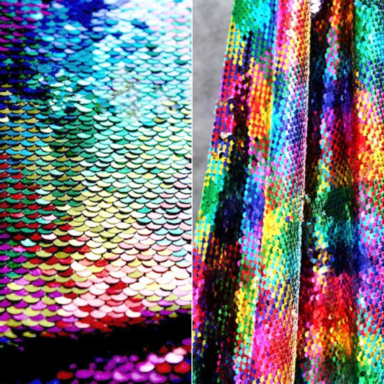 Double-Sided Two-Color Fish Scale Sequin Fabric Cloth