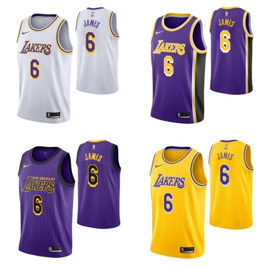 2019 Los Angeles Lakers 23 6 L-E-B-R-O-N James Basketball Jerseys