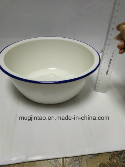 Enamelware 22.5cm White Rolling Rim Thickness for 0.5mm pictures & photos