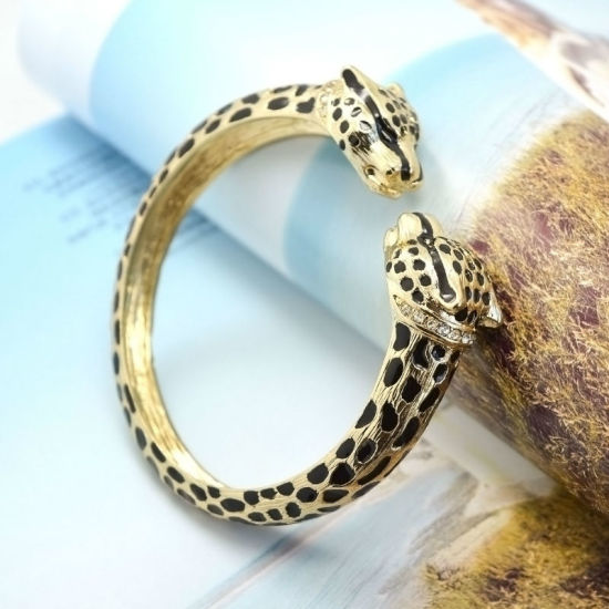 Gold Plated Black Enamel Double Leopard Rhinestone Fashion Bangles pictures & photos
