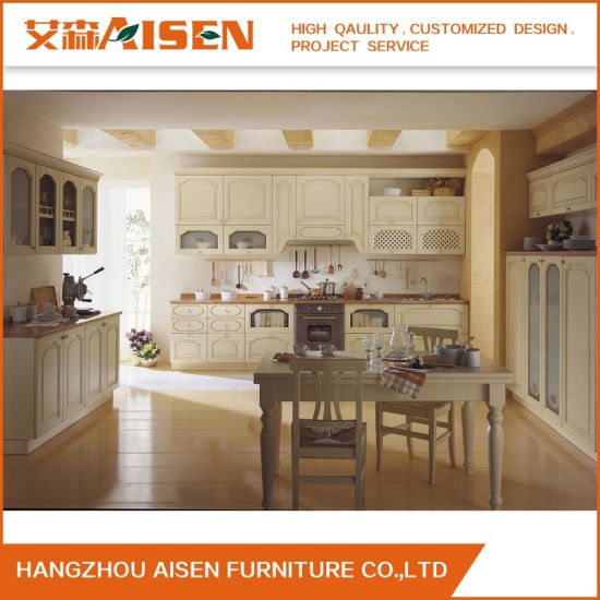 Affordable Price Wooden Furniture Solid Wood Kitchen Cabinet with Island pictures & photos