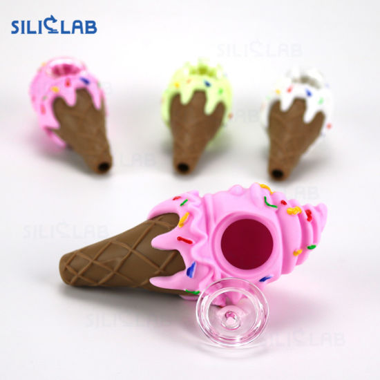 New Artistic Attractive Unbreakable Ice Cream Silicone Rubber Weed Smoking Tobacco Pipe