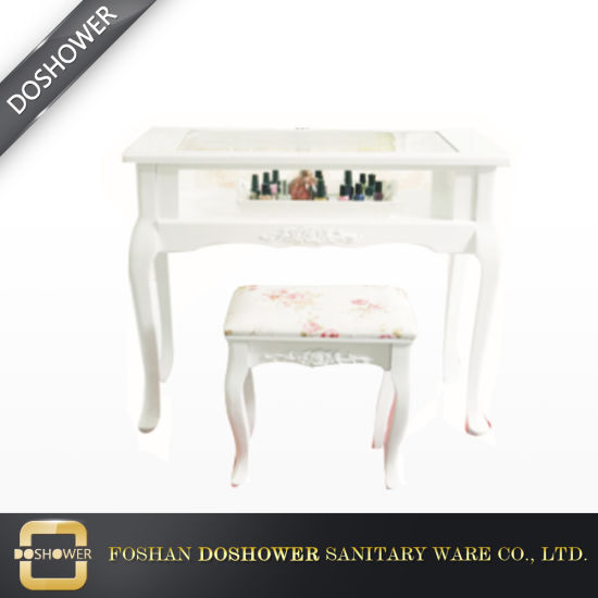 Gl Top European White Nail Table With Custom Manicure