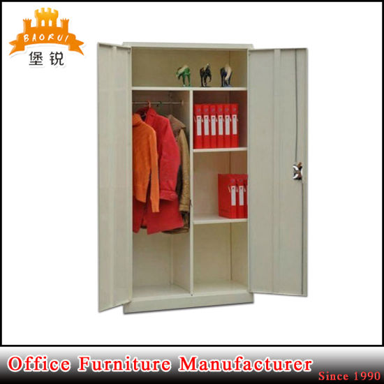 2 Door Steel Wardrobe Metal Clothes Storage Cabinet With Hanging Rod
