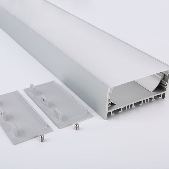 1m (3.28FT) W80mm*H37.5mm Square Aluminum Profile with Flat PC Cover, Suspension Wire and Pendant Hardware for Hanging or Surface Mounted LED Linear Lighting