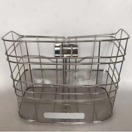 Fashion Stainess Steel Front Bicycle Basket with Stainess Steel Wire and Mesh of Bicycle Parts